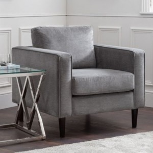 Hayward Chenille Fabric Upholstered Armchair In Elephant Grey