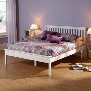 Heather Wooden Small Double Bed In Opal White