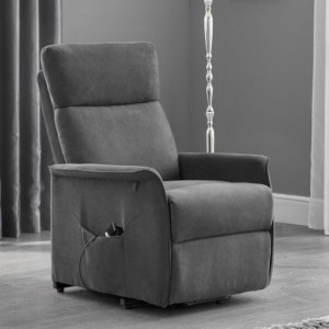 Helena Faux Leather Rise And Recliner Chair In Charcoal