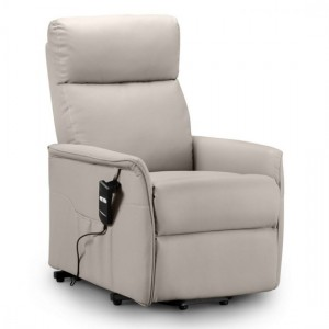 Helena Faux Leather Rise And Recliner Chair In Pebble
