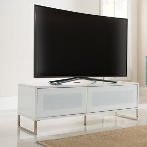 Helium Wooden TV Stand In White High Gloss With Flip Door