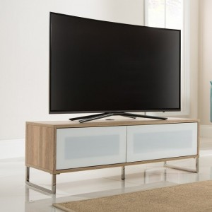 Helium Wooden TV Stand In White High Gloss And Oak With Flip Door