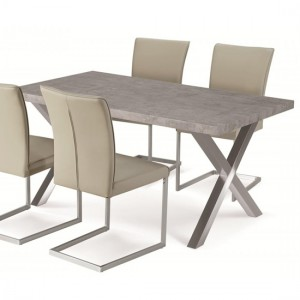 Helix Dining Table In Stone Effect With Brushed Stainless Steel Legs