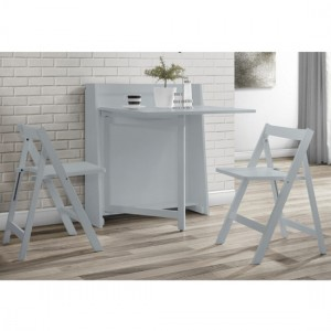 Helsinki Wooden Compact Folding 2 Seater Dining Set In Light Grey