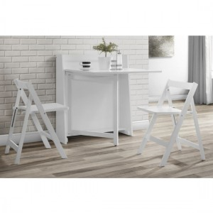 Helsinki Wooden Compact Folding 2 Seater Dining Set In White