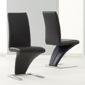 Hereford Black Faux Leather Dining Chairs In Pair