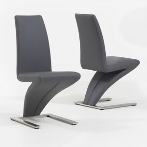 Hereford Grey Faux Leather Dining Chairs In Pair