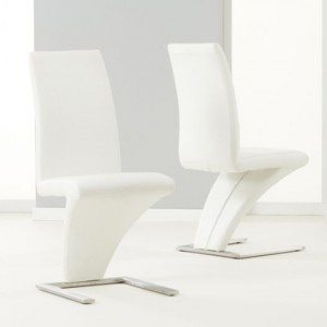 Hereford White Faux Leather Dining Chairs In Pair