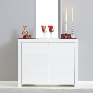 Hereford Wooden 2 Doors 2 Drawers Sideboard In White High Gloss