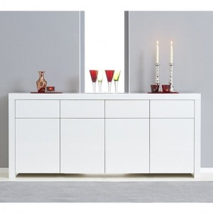 Hereford Wooden 4 Doors 4 Drawers Sideboard In White High Gloss
