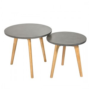 Hex Wooden Nest Of Tables In Concrete Effect