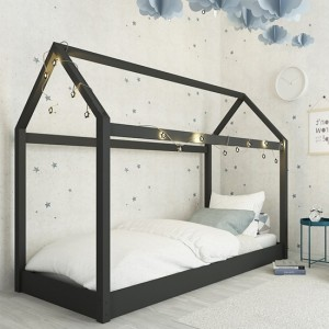 Hickory Wooden Single Bed Black
