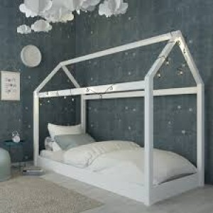 Hickory Wooden Single Bed In White With Home Shaped Frame