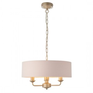Highclere 3 Lights Blush Pink Linen Shade Ceiling Pendant Light In Champagne