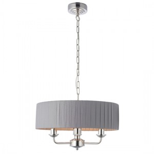 Highclere 3 Lights Charcoal Fabric Shade Ceiling Pendant Light In Bright Nickel