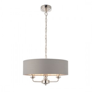 Highclere 3 Lights Charcoal Linen Shade Ceiling Pendant Light In Bright Nickel