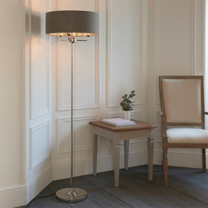 Highclere Charcoal Linen Fabric Shade Floor Lamp In Bright Nickel