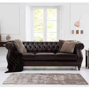 Highgrove Faux Leather 3 Seater Sofa In Brown