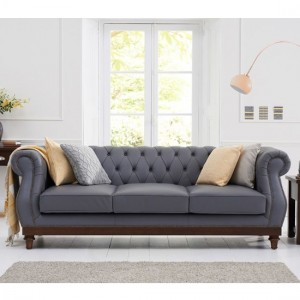 Highgrove Faux Leather 3 Seater Sofa In Grey