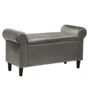 Highgrove Velvet Storage Ottoman In Grey