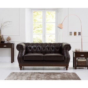 Astoria 2 Seater Sofa In Brown Leather With Dark Ash Legs