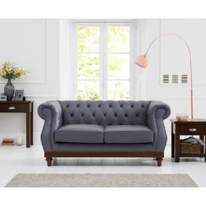 Astoria 2 Seater Sofa In Grey Leather With Dark Ash Legs