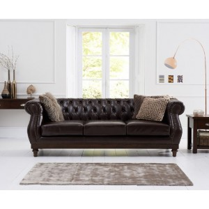 Astoria 3 Seater Sofa In Brown Leather With Dark Ash Legs