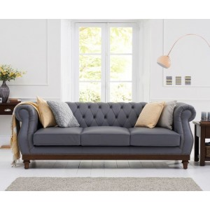 Astoria 3 Seater Sofa In Grey Leather With Dark Ash Legs