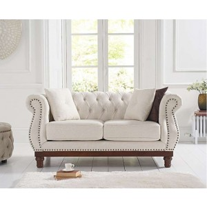 Astoria Ivory Linen Chesterfield 2 Seater With Dark Wooden Legs