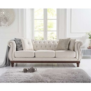 Astoria Ivory Linen Chesterfield 3 Seater With Dark Wooden Legs