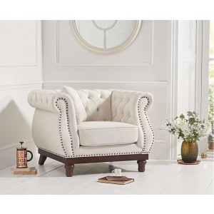 Astoria Ivory Linen Chesterfield 1 Seater With Dark Wooden Legs