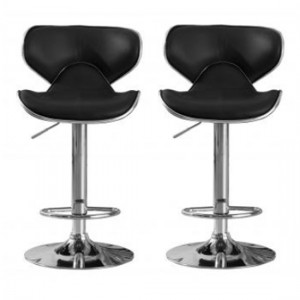 Hillside Black Faux Leather Bar Stools In Pair With Chrome Base