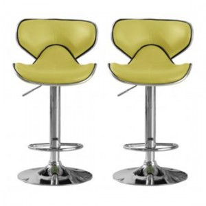 Hillside Lime Faux Leather Bar Stools In Pair With Chrome Base