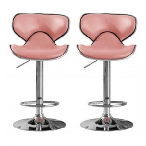 Hillside Pink Faux Leather Bar Stools In Pair With Chrome Base
