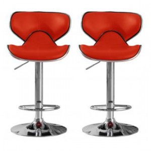 Hillside Red Faux Leather Bar Stools In Pair With Chrome Base