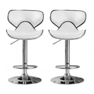 Hillside White Faux Leather Bar Stools In Pair With Chrome Base