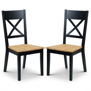Hockley Black And Oak Wooden Dining Chairs In Pair