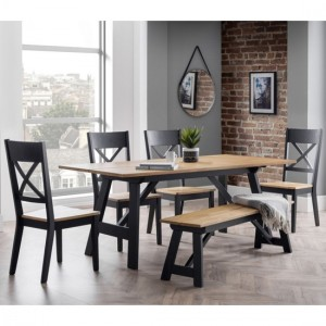 Hockley Dining Table In Black And Oak With Bench And 4 Chairs