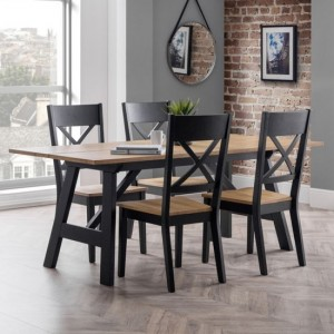 Hockley Rectangular Wooden Dining Table In Black And Oak With 4 Chairs