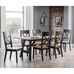 Hockley Rectangular Wooden Dining Table In Black And Oak With 6 Chairs