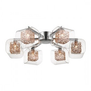 Heze Cross Luminaire Ceiling Light In Chrome And Copper