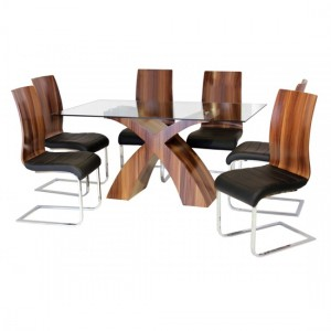 Holte Clear Glass Dining Set With Walnut Legs And 6 Chairs