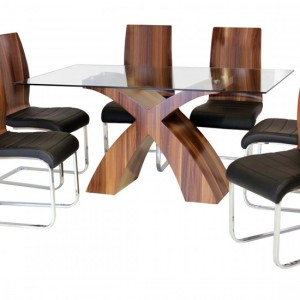 Holte Glass Dining Table With Walnut Wooden Legs