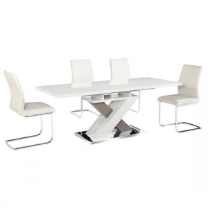 Honora Extending Wooden Dining Set In White High Gloss With 6 Chairs
