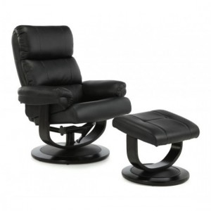 Horten Leather Swivel Recliner Chair In Black