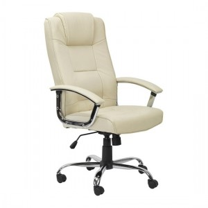 Houston Faux Leather High Back Executive Office Chair In Cream