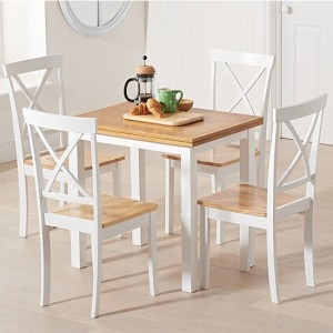 Hove Extending Dining Table In Light Oak And White With 4 Elstree Chairs