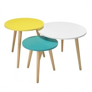 Hove Wooden Nest Of Tables In Oak With Pastel Tops