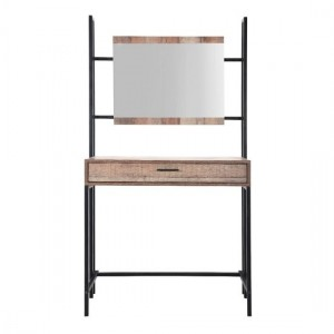 Hoxton Dressing Table With Mirror In Distressed Oak Effect