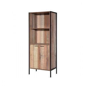 Hoxton Wooden Bookcase In Oak With 2 Doors And 1 Shelf